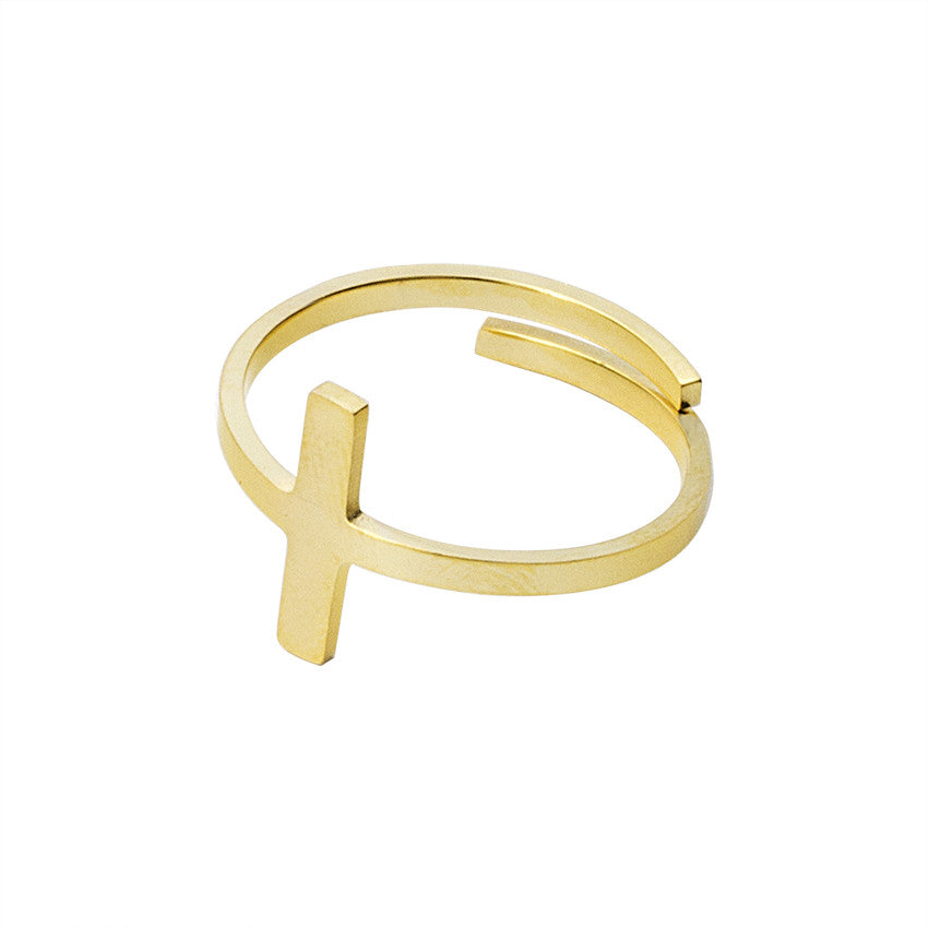 Leo Womens Christian Cross Ring
