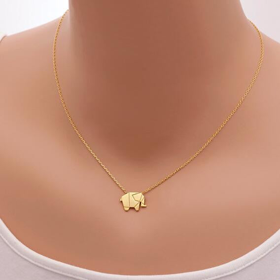 Leo Elephant Origami Necklace