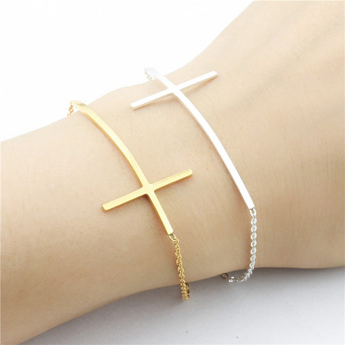Leo Womens Sideways Cross Bracelet