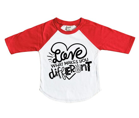 love what makes you different kids graphic raglan tee shirt