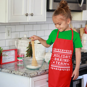 holiday baking team kids christmas cookies baking apron child apron boys girls Christmas apron chef apron for kids