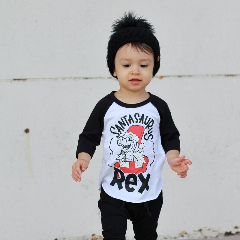 Santasaurus Rex - Kids Holiday Raglan