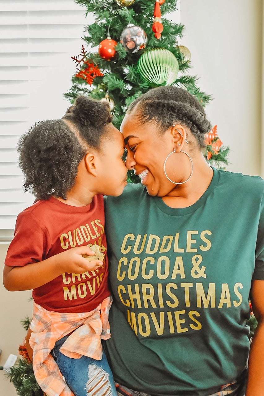 Cuddles Cocoa & Christmas Movies Gold Ink - Kids Holiday Tee