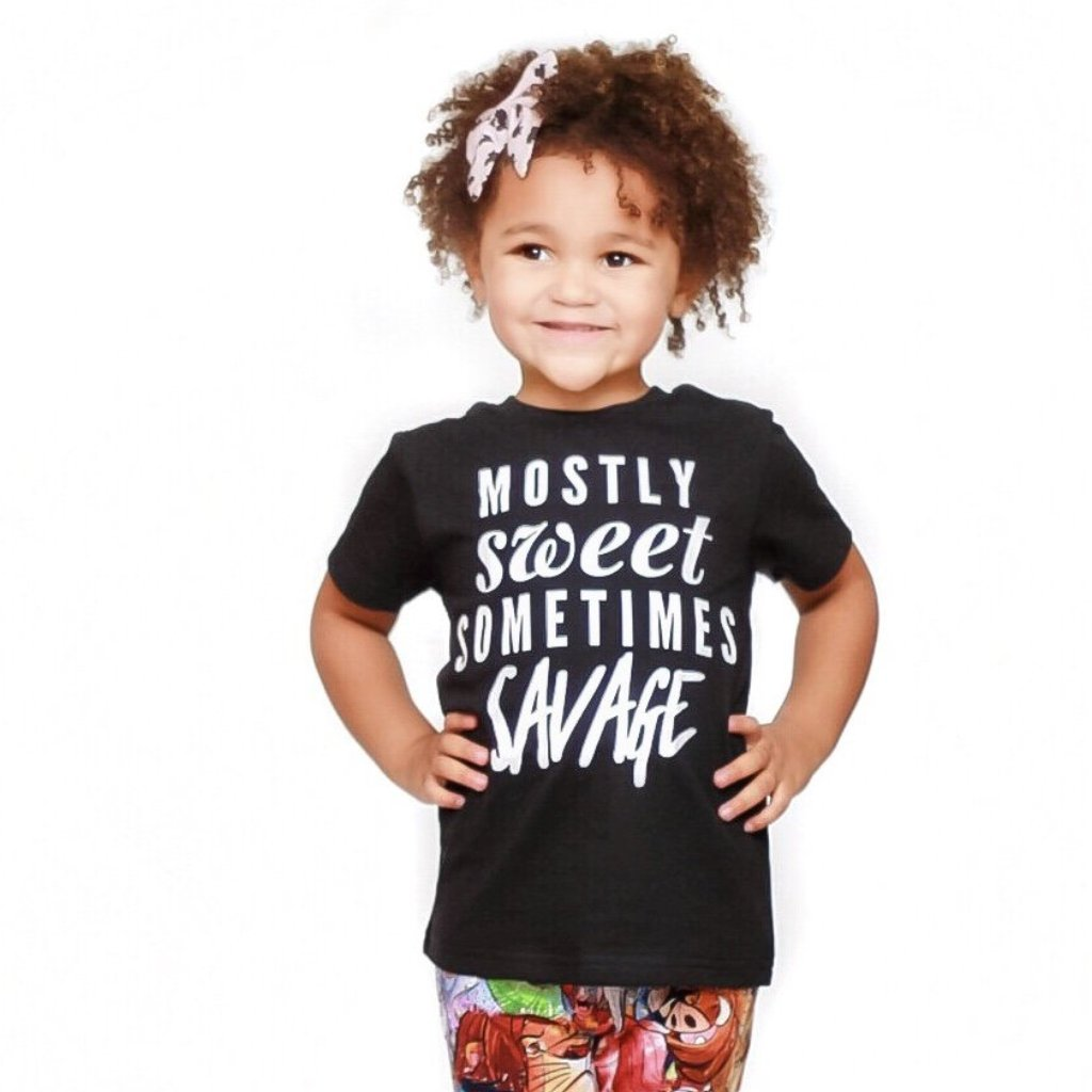 mostly sweet sometimes savage trendy kids monochrome tee shirt