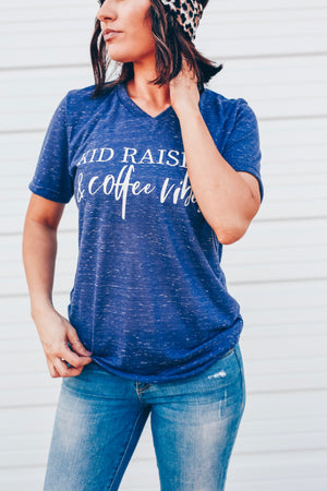 Kid Raising & Coffee Vibes - Navy Marble Vneck Unisex Tee