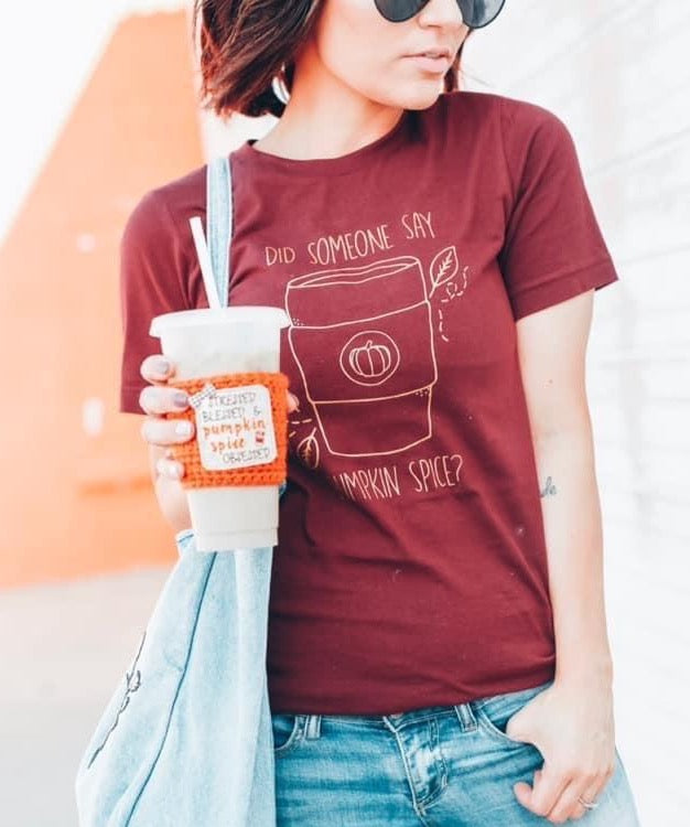 Did Someone Say Pumpkin Spice? - Copper Shimmer ink/Maroon Unisex Tee