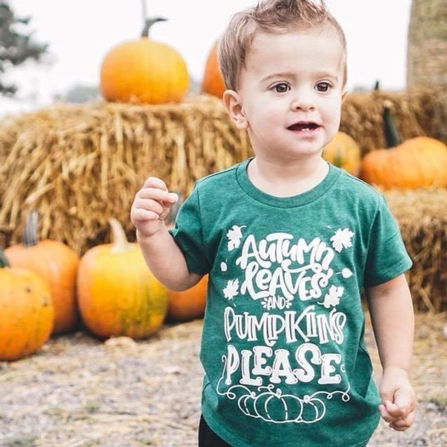 Autumn Leaves & Pumpkins Please white ink - Kids Tee