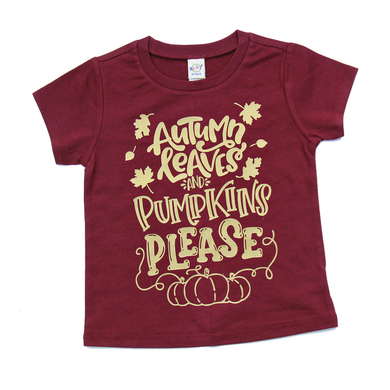 Autumn Leaves & Pumpkins Please - Gold Matte Print  Kids Tee