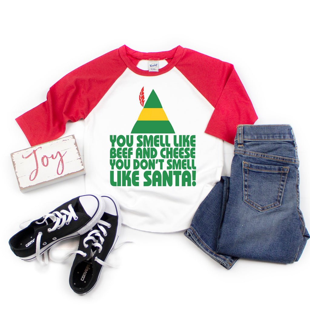 Buddy the Elf Beef & Cheese - Kids Holiday Raglan