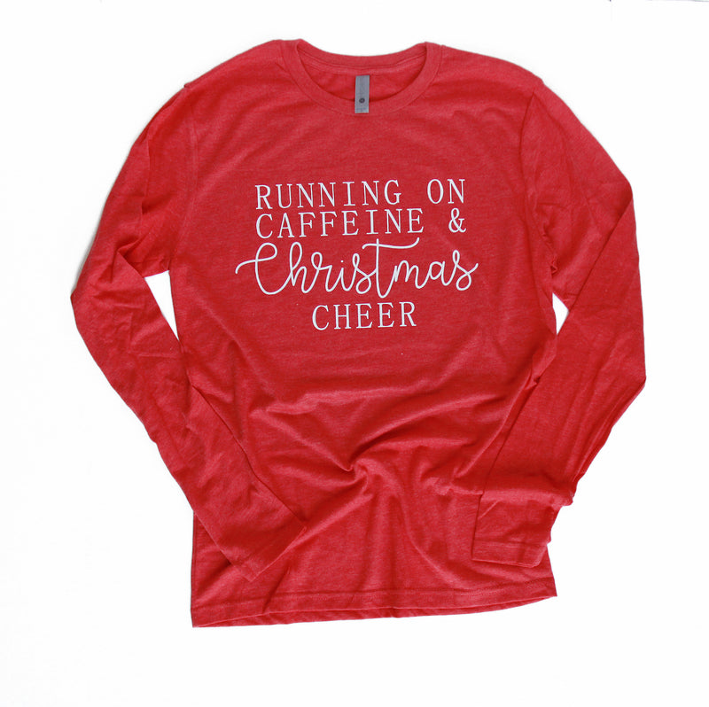 Running on Caffeine & Christmas Cheer - Red Triblend Unisex Long Sleeve