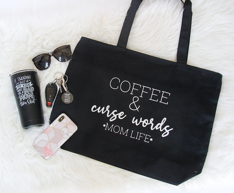 coffee and curse words mom life tote bag gifts for mom funny mothers day gift mom bag custom tote bag