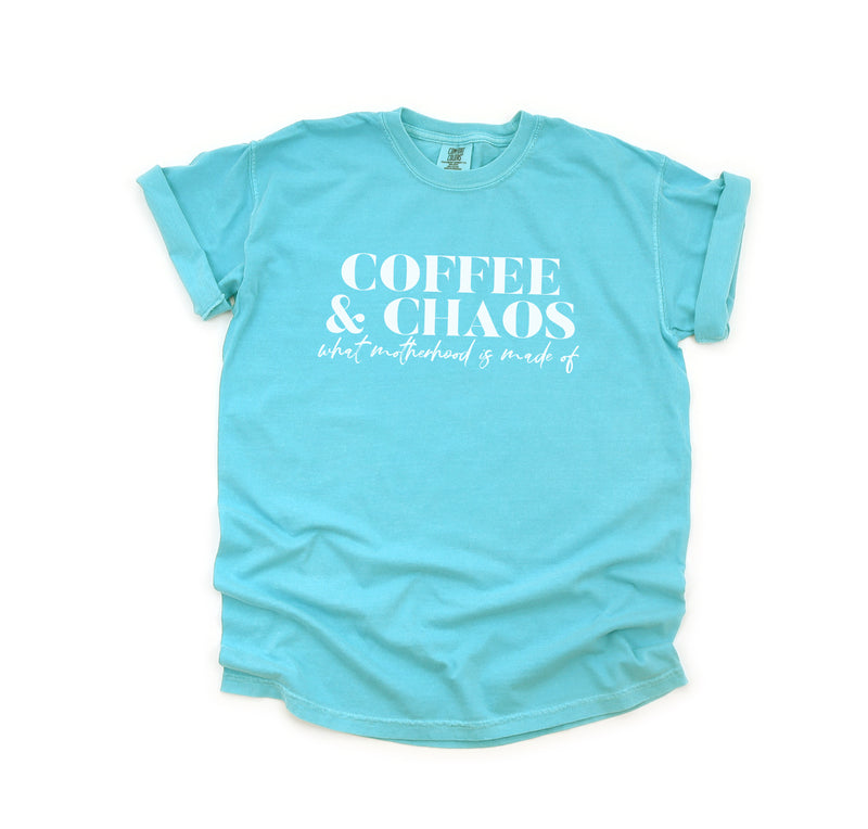 Coffee & Chaos What Motherhood is Made Of - Lagoon Unisex Heavyweight Tee