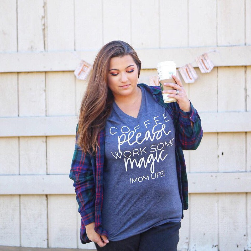Coffee please Work Some Magic - Heather Navy Unisex Vneck Tee