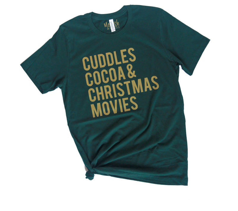 Cuddles Cocoa & Christmas Movies Gold Ink - Adult Holiday Tee