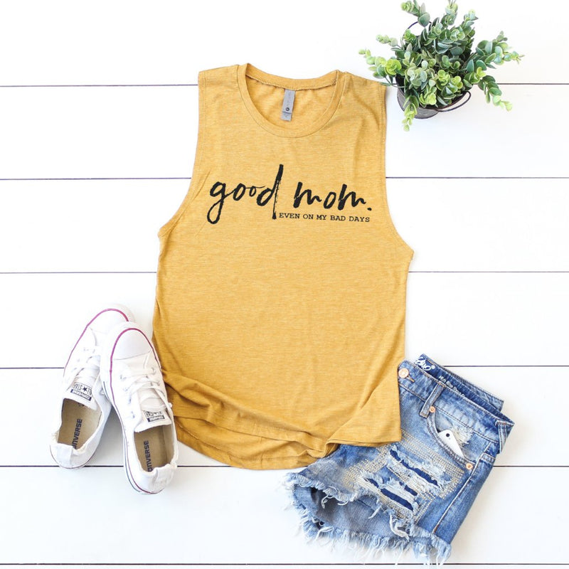 Good Mom Black Shimmer - Antique Gold Muscle Tank