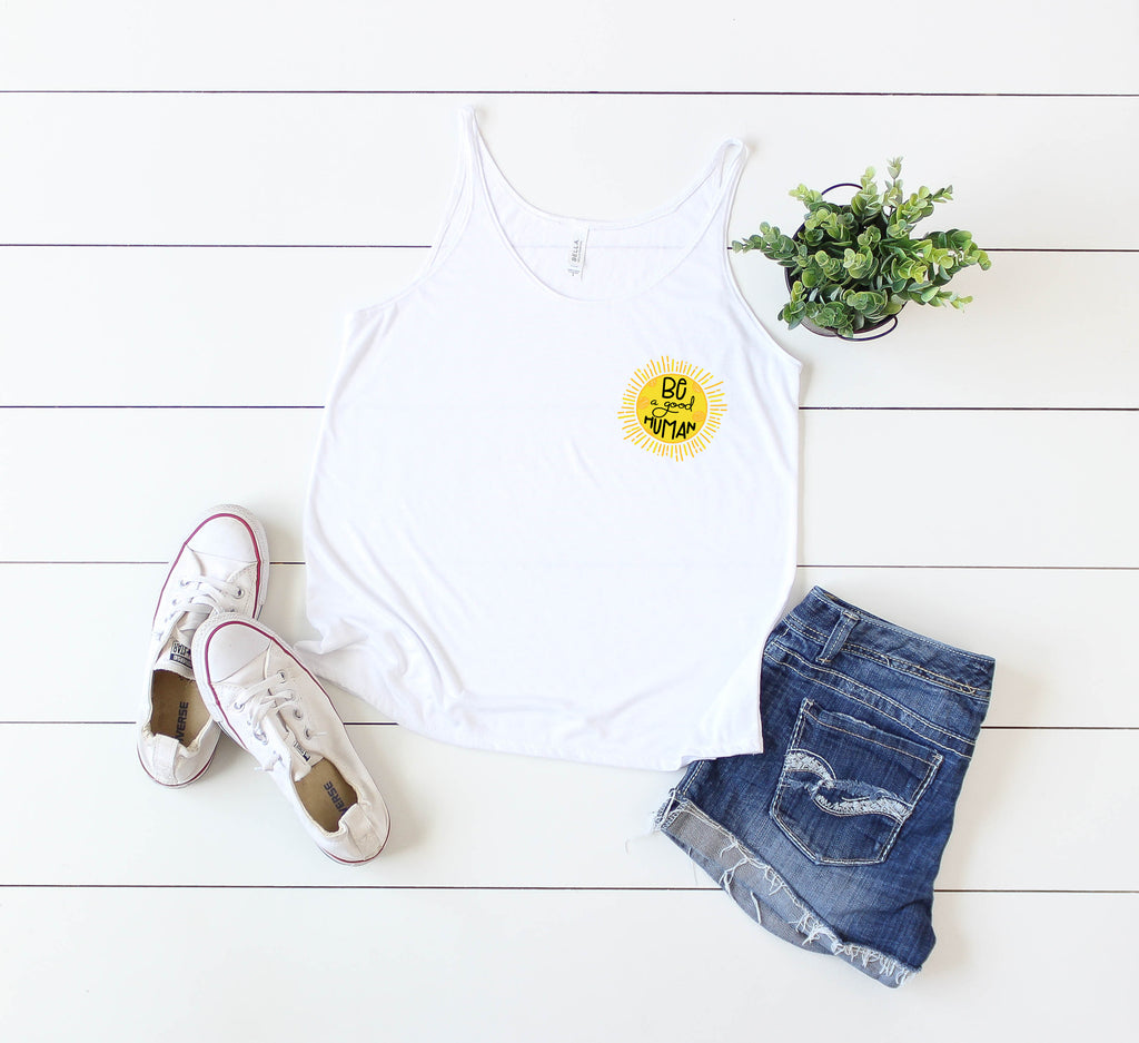 Be A Good Human - White Slouchy Tank