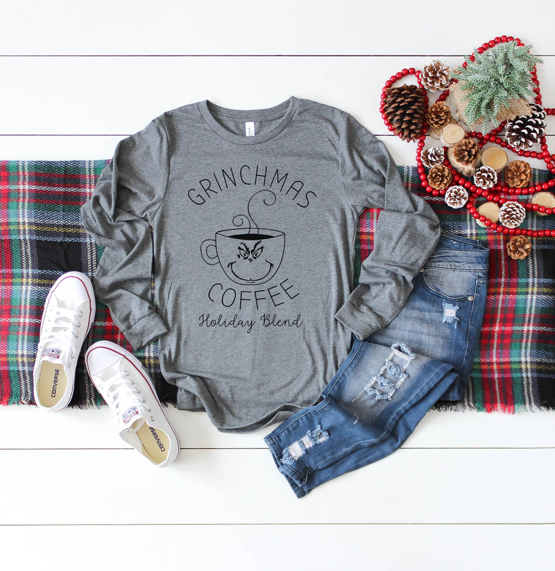 Grinchmas Coffee - Heather Grey Unisex Long Sleeve