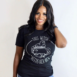 This Witch Needs Her Brew - Black Unisex Adult Tee