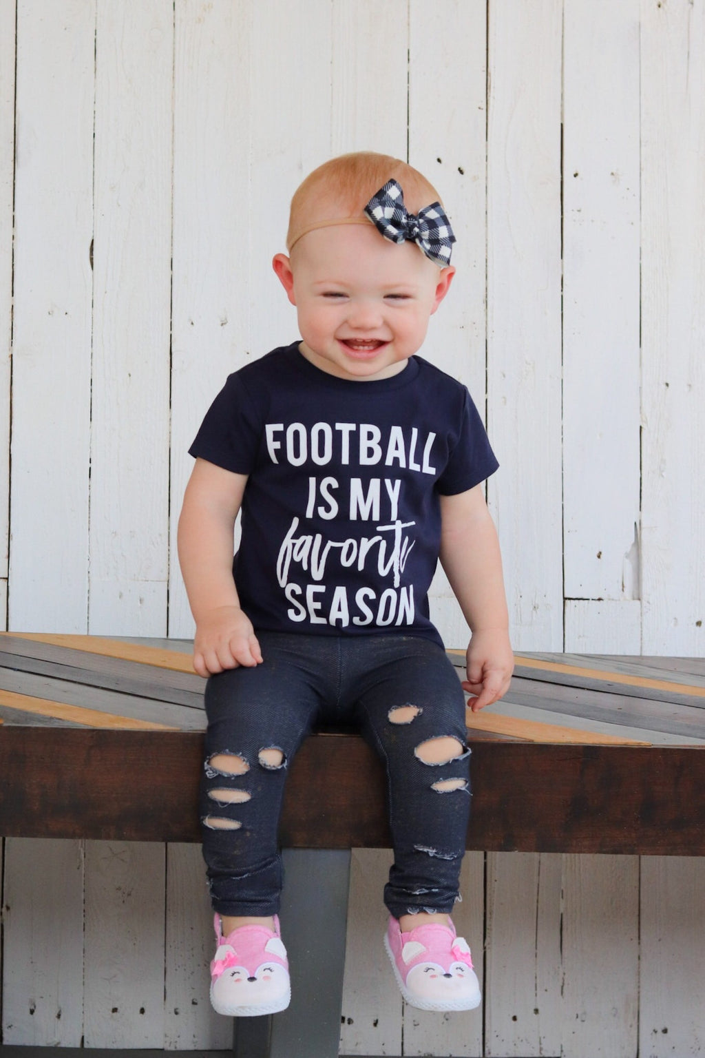 Football is my Favorite Season white ink - Kids Tee