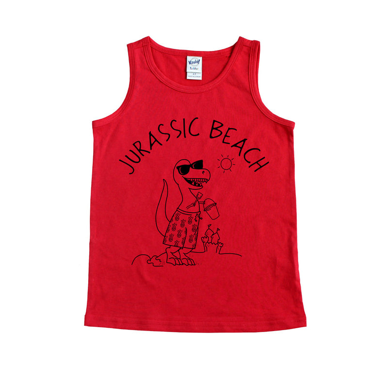 Jurassic Beach - Red Toddler Tank *ready to ship*