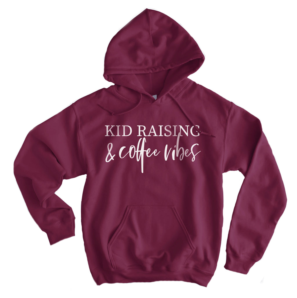 Kids Raising & Coffee Vibes - White ink/Maroon Midweight Hoodie *event*