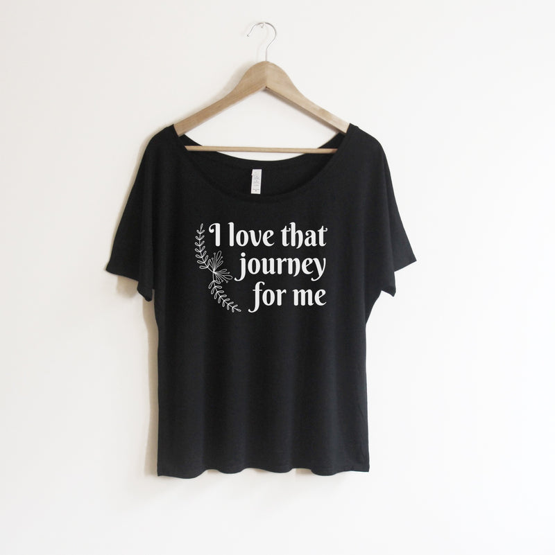 Love that Journey for me Alexis Rose tee shirt. Schitt's Creek off the shoulder women's graphic tshirt