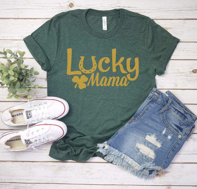 Lucky Mama - Heather Forest Unisex Tee