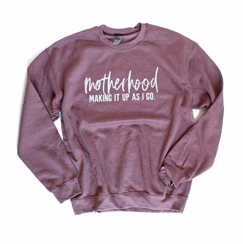 Making it Up As I Go - Heather Maroon Unisex Fleece Pullover