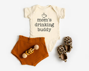 Mom's coffee drinking buddy funny gender neutral baby newborn outfit baby girl outfit baby boy outfit cute funny baby onesie