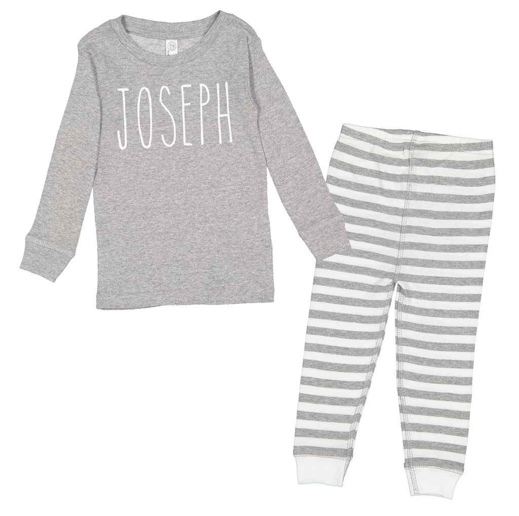 Personalized Skinny Letter - Grey Stripe Infant/Toddler Pajama Set