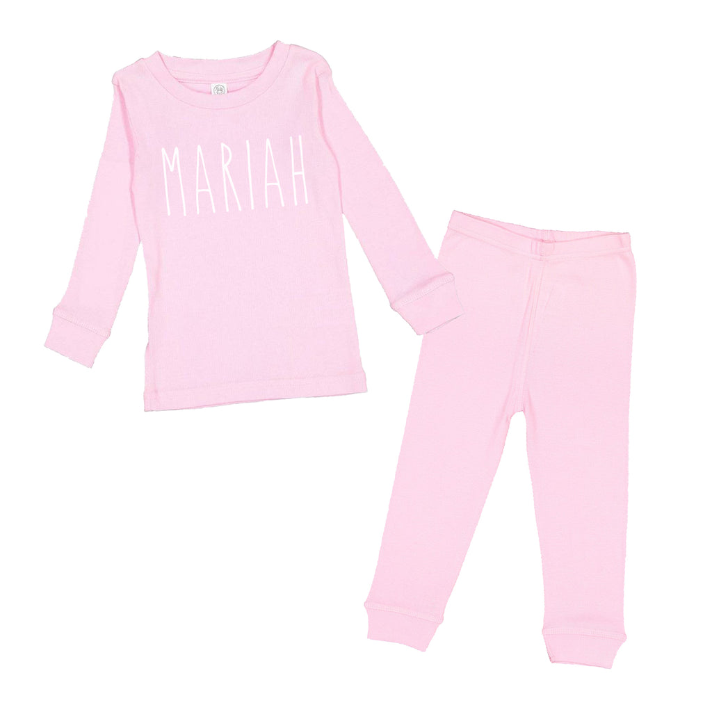 Personalized Skinny Letter - Pink Infant/Toddler Pajama Set