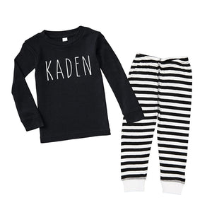 Personalized Skinny Letter - Black Stripe Infant/Toddler Pajama Set