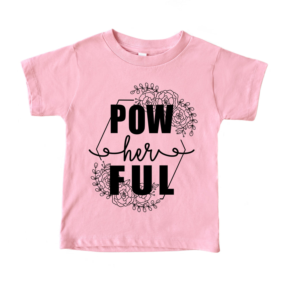 pow her ful kids girl power tee shirt Cute girls printed graphic feminist tee womens rally womens march tshirt
