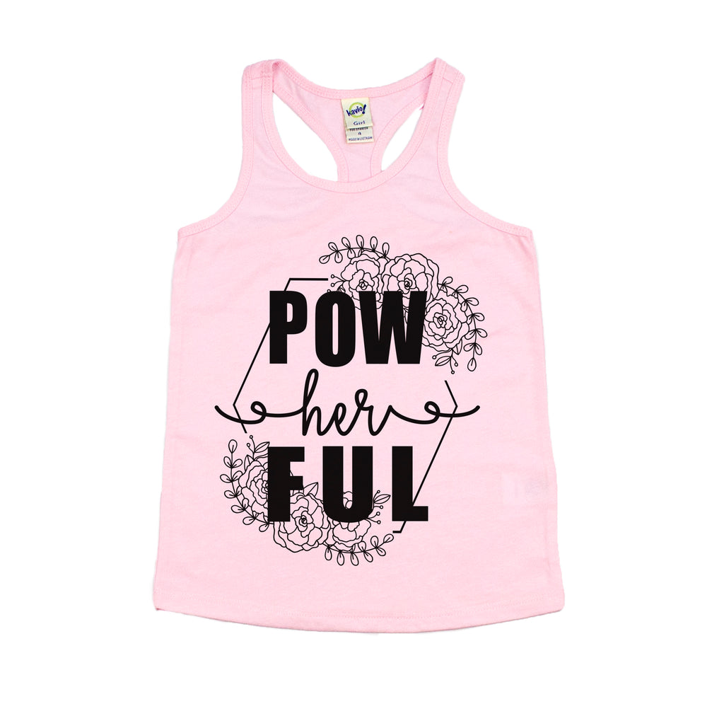 powherful girls pink racerback tank top girl power feminist shirt tank top for womens march womens rally