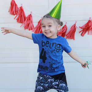 Being 4 is Rawrsome - Kids Birthday Tee