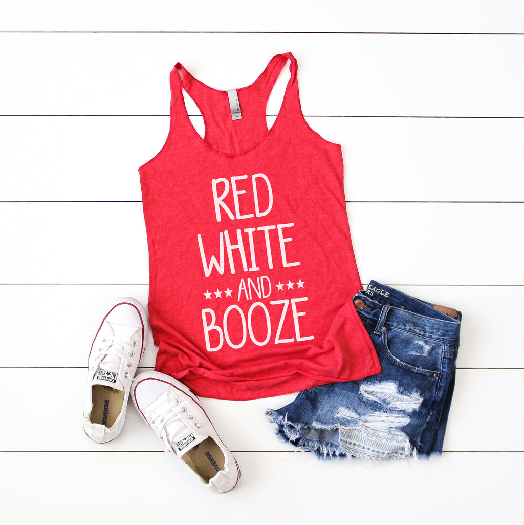 Red White and Booze - Vintage Red Women's Racerback Tank