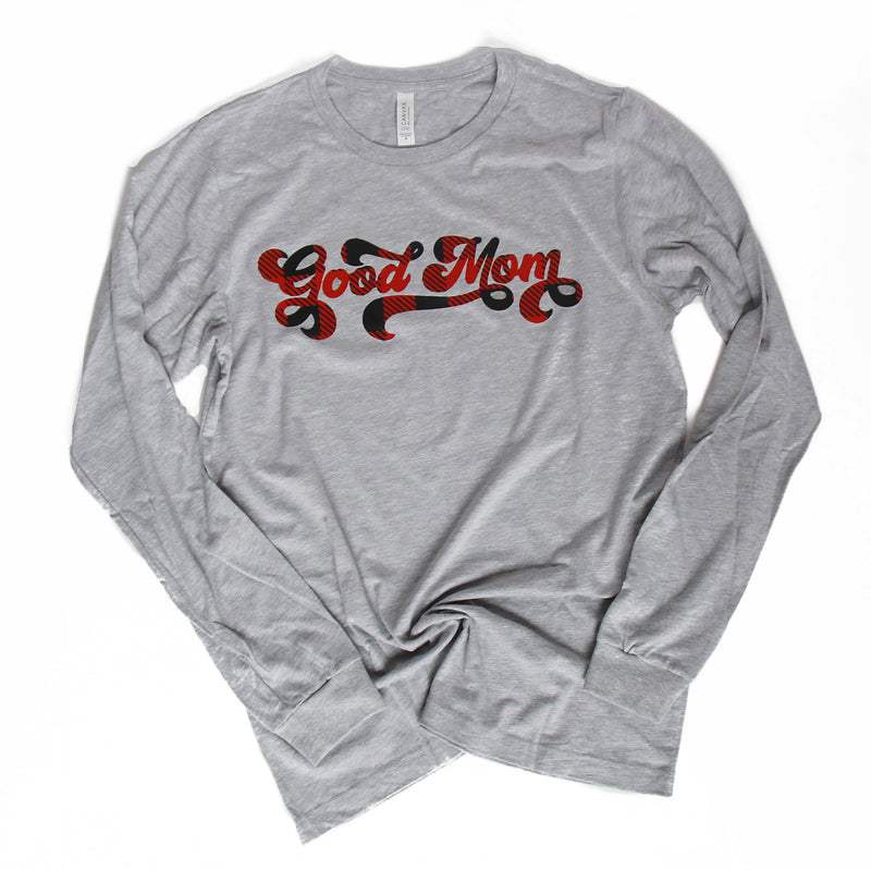 Retro Good Mom Buffalo Plaid - Athletic Grey Unisex Long Sleeve