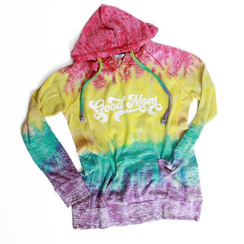 Retro Good Mom - Women's Rainbow Tie Dye Hoodie