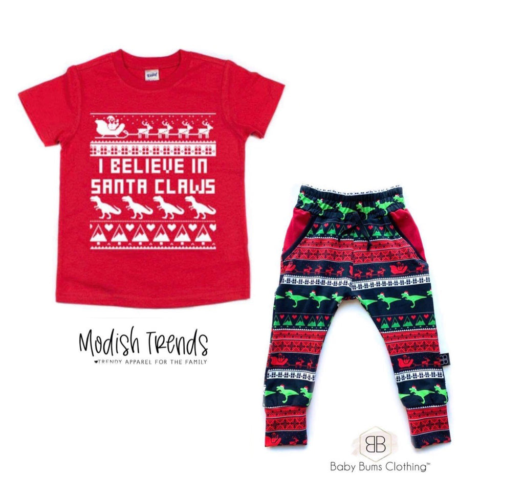 I Believe in Santa Claws - Kids Holiday Tee *Baby Bums Collab*