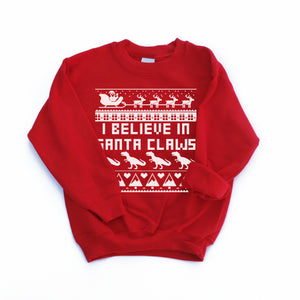 believe in santa claws kids dinosaur Christmas ugly sweater kids christmas sweatshirt