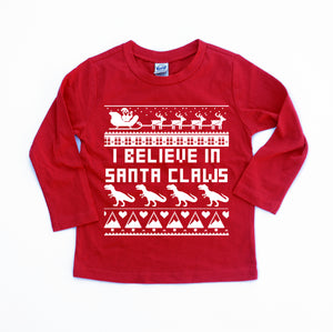 I believe in santa claws funny kids dinosaur christmas shirt kids ugly christmas sweater dinosaur Christmas t shirt