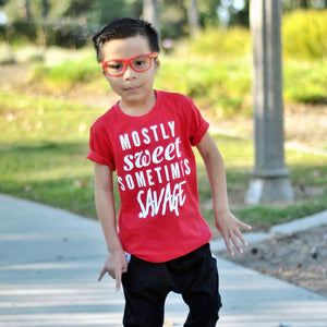 mostly sweet sometimes savage funny kids toddler baby tee shirt