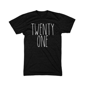 Skinny Letter Twenty One - Adult Birthday Tee