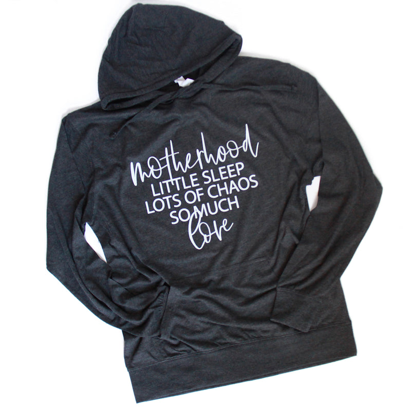 Sleep Chaos Love - Charcoal Heather Hooded Long Sleeve Tee