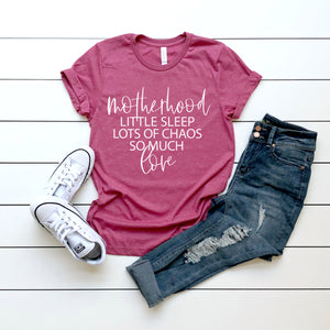 Sleep Chaos Love - Heather Raspberry Unisex Tee