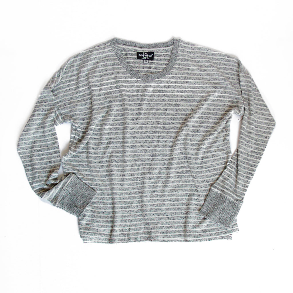 Striped Women's Boxy Crewneck Pullover
