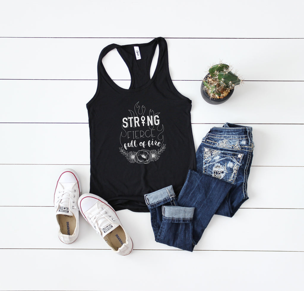 Strong Fierce Full of Fire - Women's Racerback Tank