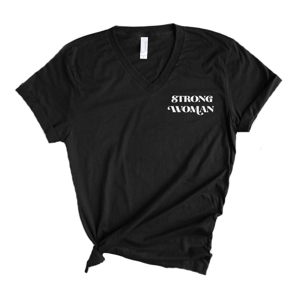 Strong Woman pocket - Black Vneck Adult Unisex Tee
