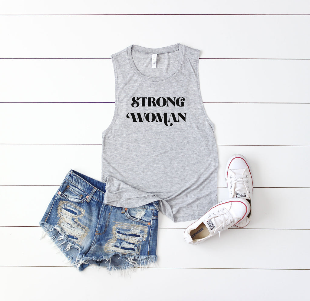 Strong Woman - Athletic Grey Women's Muscle Tank