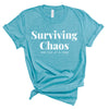 surviving chaos one cup at a time funny mom long sleeve shirt funny motherhood shirt mom life t shirt mother's day gift funny gifts for mom